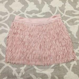 Shimmery pink fringe mini skirt